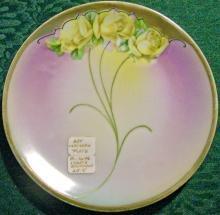 Bavarian Art Nouveau Porcelain Plate Hand-Painted Floral/Gold 6 1/8