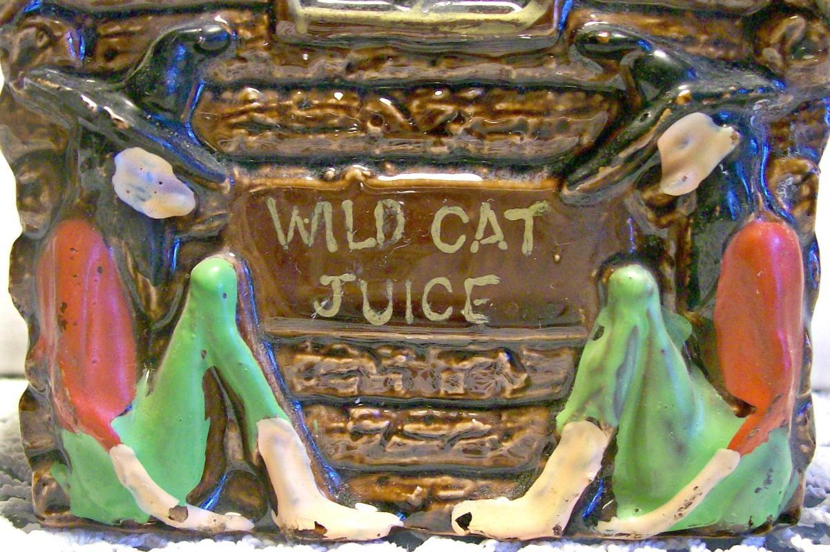Hillbilly Wild Cat Juice Ceramic Liquor Decanter 1950s Dixie Japan