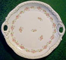 Zeh Scherzer Bavarian Porcelain Cake Plate Pink Roses