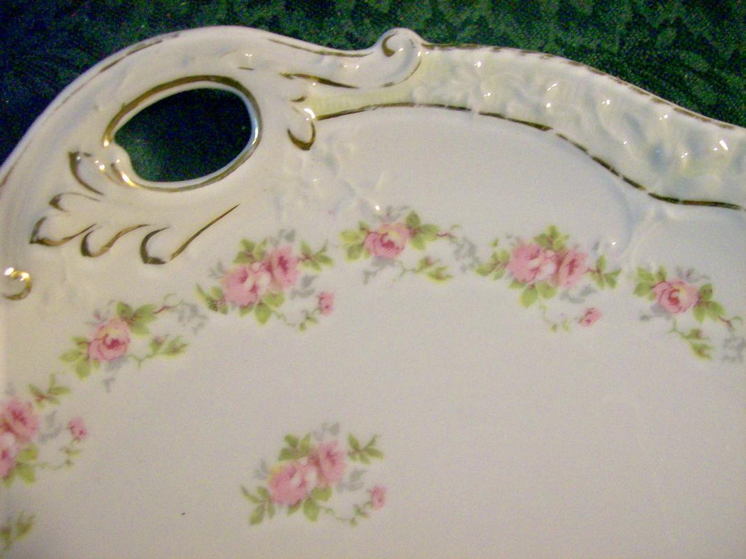 Zeh Scherzer Bavarian Porcelain Cake Plate Small Pink Roses 10.5