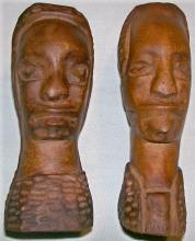 African Primitive Carvings: Man/Woman Pair 6.75