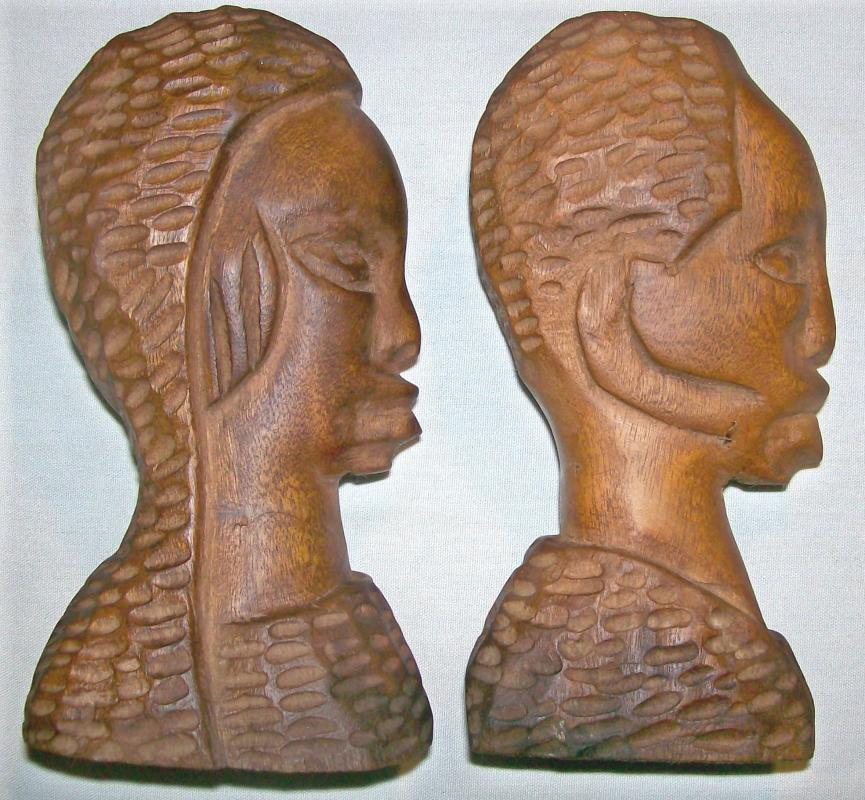 African Primitive Carvings Male/Female Bust  Pair 6.75