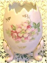Pink Ceramic Egg Vase with Flower Decoration Ca. 1950's 4.75