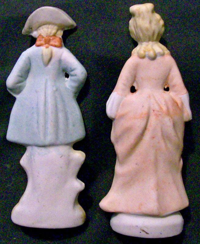 Occupied Japan  Bisque Ceramic Figurine Pair Colonial Man & Woman 5