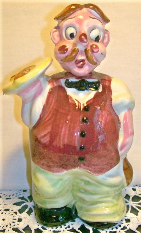 Waiter Figural Ceramic Liquor / Wine Decanter:  1950's Japan