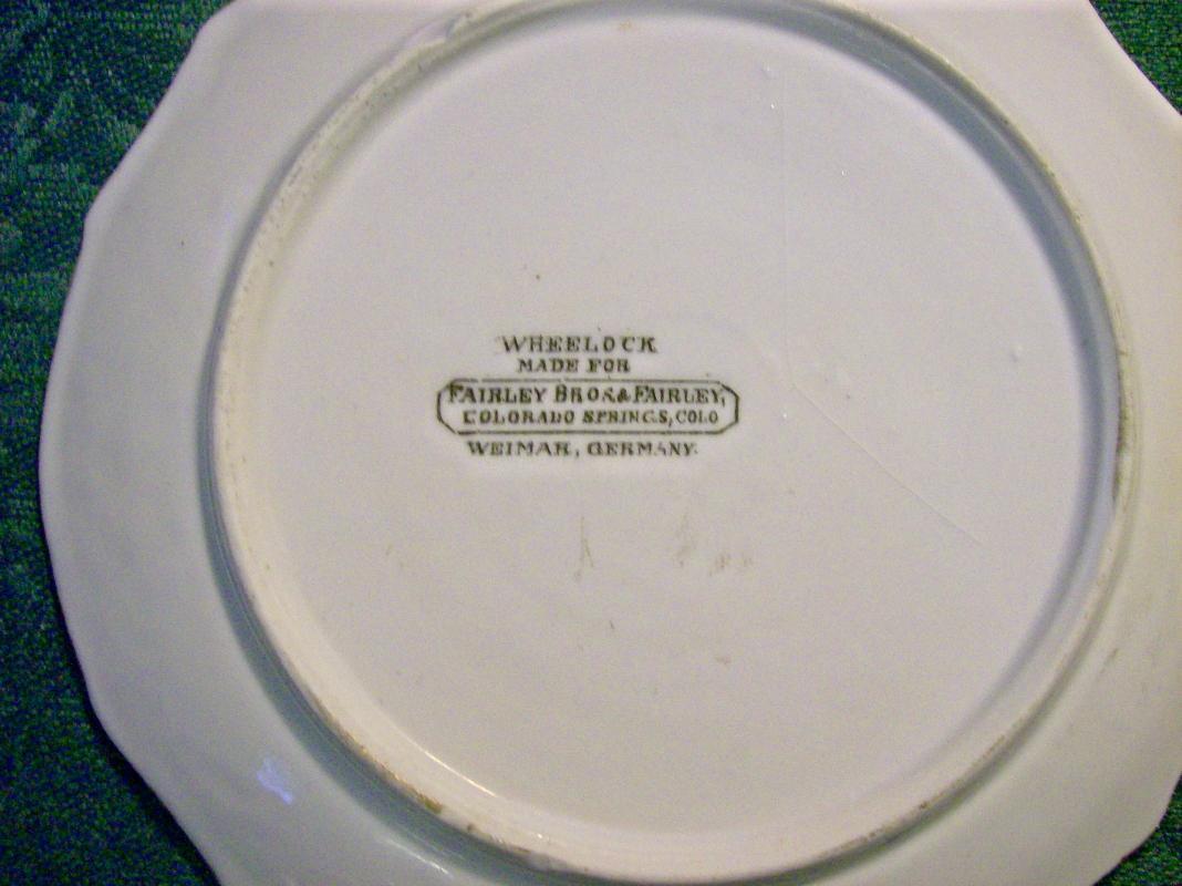 Colorado Souvenir Ceramic Plate Ca. 1900 Wheelock Weimar Germany