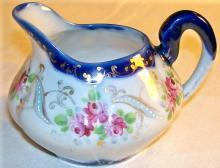 Nippon Cobalt-trimmed Ceramic Creamer Hand-Painted Roses & Gold