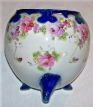 Nippon Porcelain Cracker/Biscuit Jar Cobalt & Gold with Roses NO LID