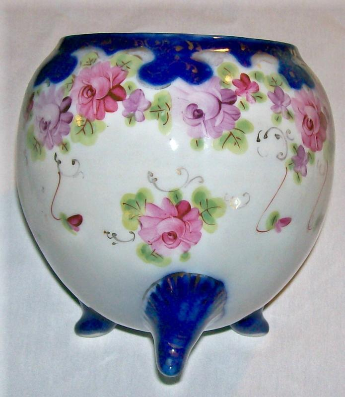 Nippon Porcelain Cracker/Biscuit Jar Cobalt & Gold with Roses NO LID