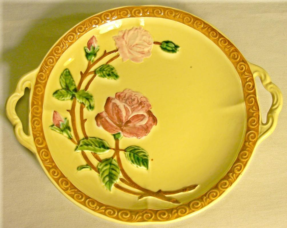 CICO Germany Majolica-style Footed Ceramic Plate with Roses Ca. 1940