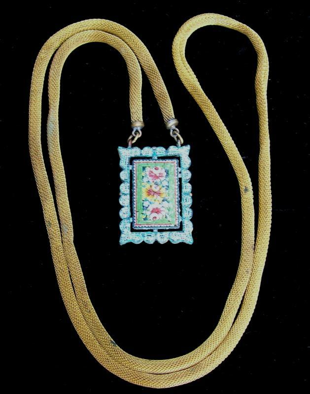 Italian Micromosaic Necklace:  Ca. 1900 Gilded Brass