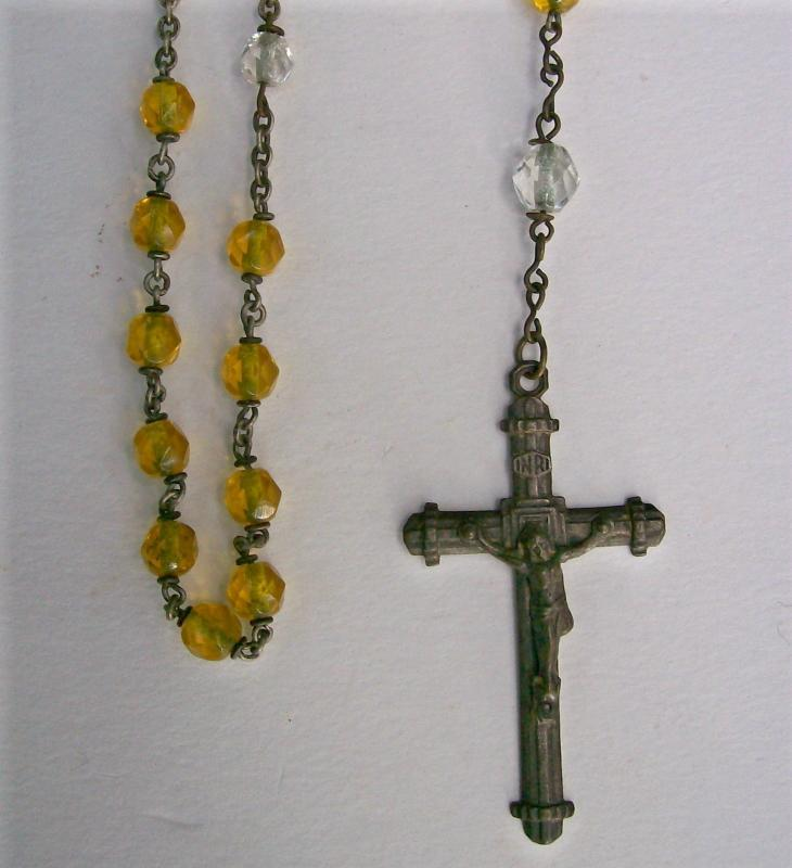 Czech Crystal Rosary/Crucifix 1920s-30s Facetted Clear/Yellow