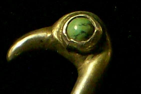 Mexican Silver Flamingo Bird Pin with Turquoise Eye