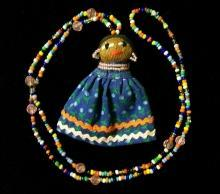 Florida Seminole Indian Beaded Necklace w/Doll Figure Ca. 1960s