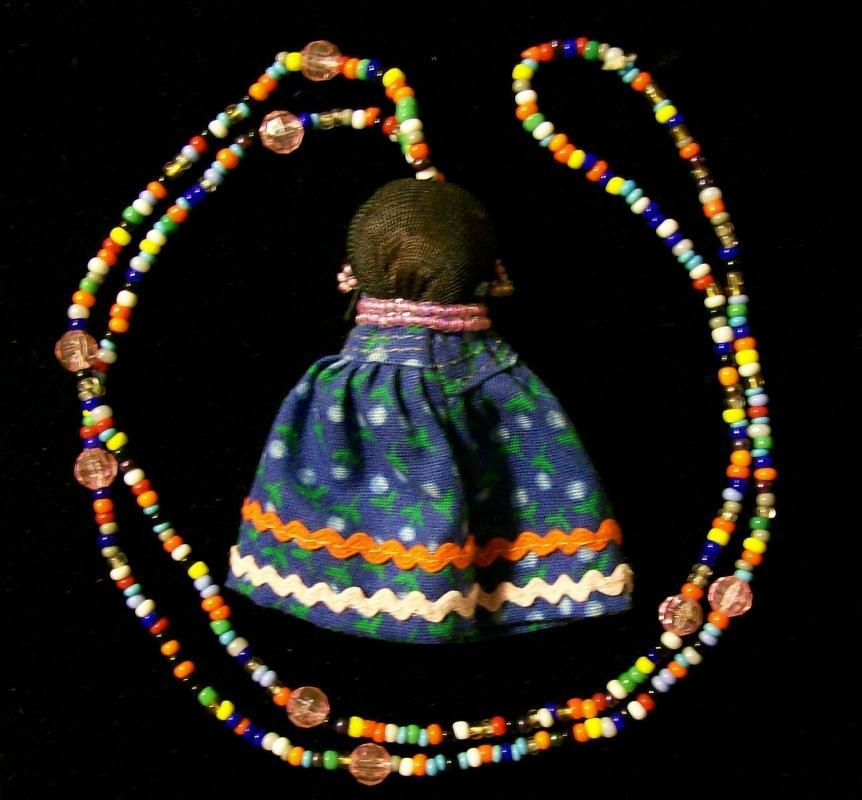 Florida Seminole Indian Beaded Necklace w/Doll Figure Ca. 1960s