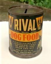 Rival Dog Food Tin Can Bank 1940s Advertising 2.75