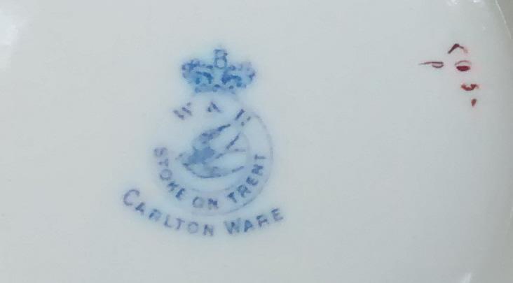 Carlton Ware Biscuit Barrel #6883/5 Blush/Cobalt Floral Ca. 1900