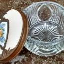 Saart Brothers Bronze & Glass Dresser Jar Enameled Flowers 1920s
