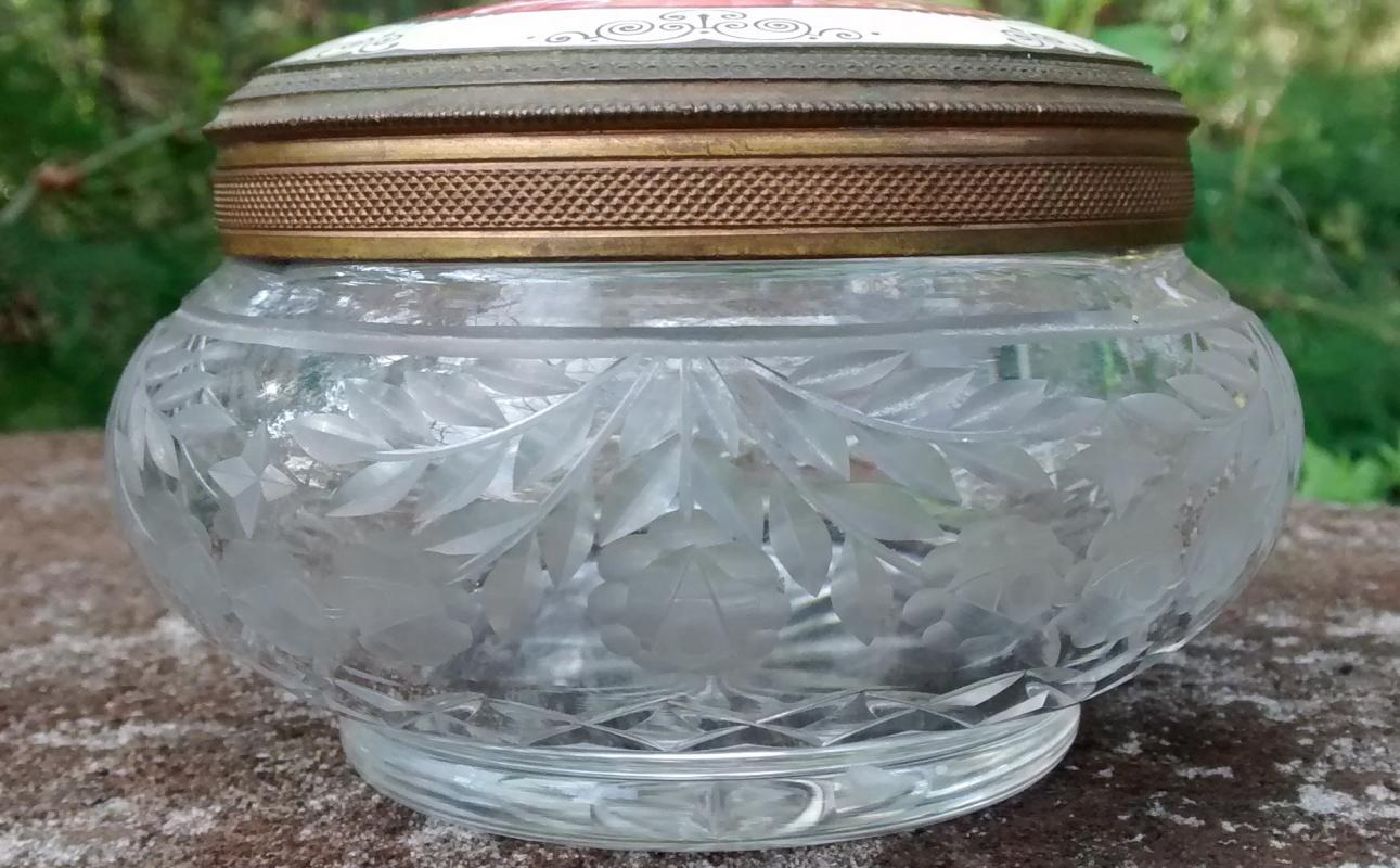 Austrian Guilloche Enamel & Engraved Crystal Dresser Jar 1890s-1920s