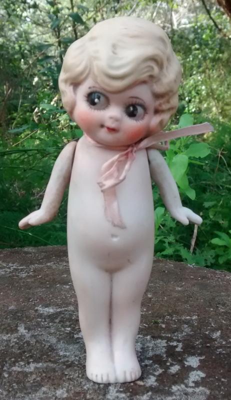 1920s Flapper Frozen Charlotte Doll Googley-Eyed Ceramic