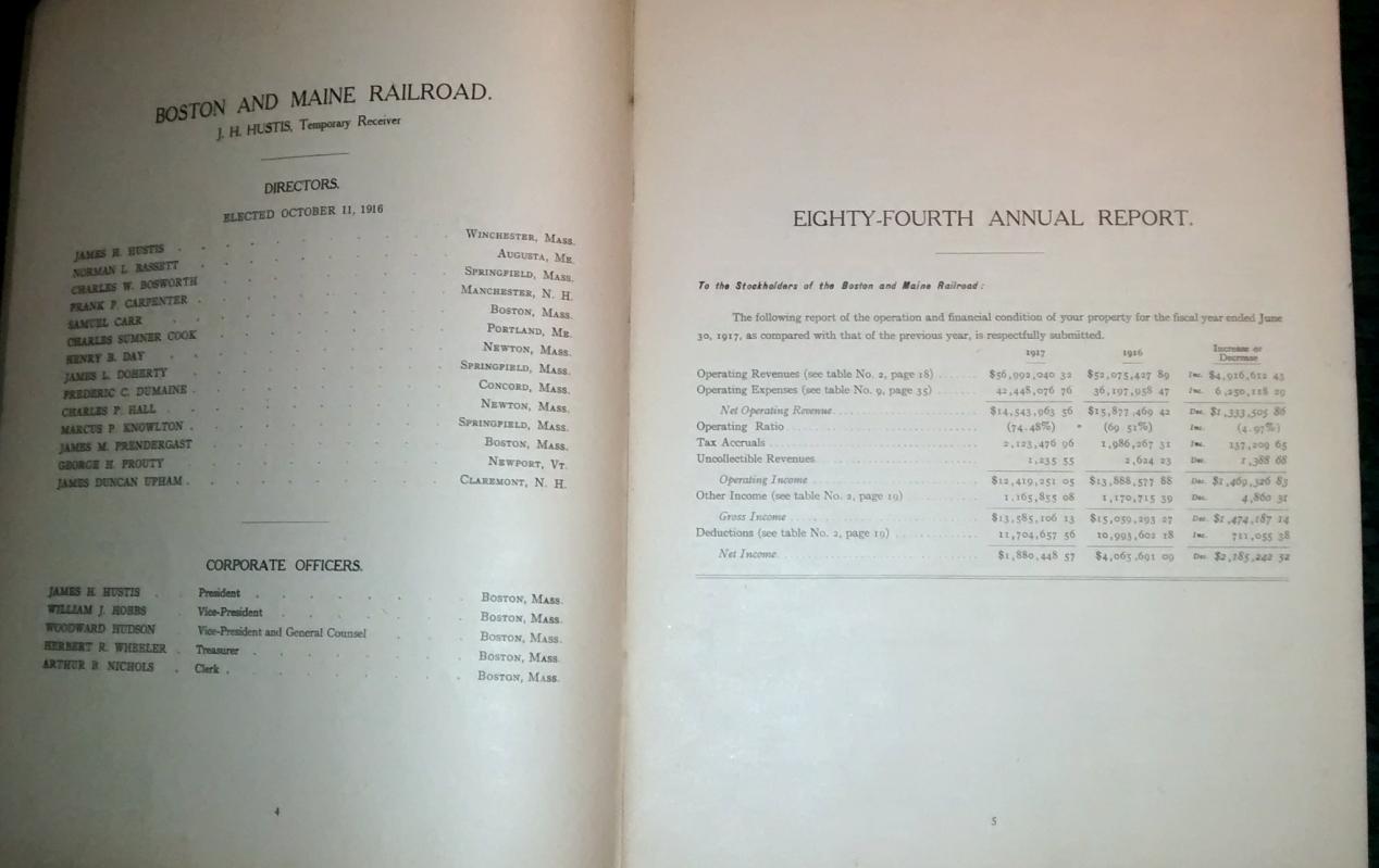 Boston & Maine Railroad Annual Report 84th 1917