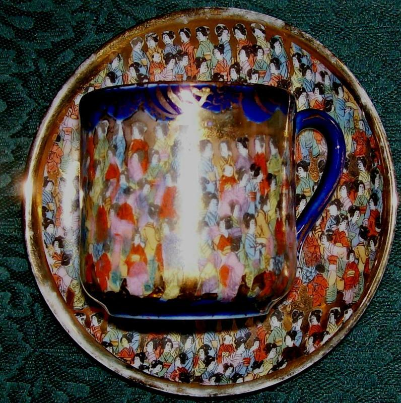 Tashiro Thousand Geisha/Faces Porcelain Cup & Saucer Cobalt Blue/Gold