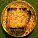 Tashiro Thousand Geisha/Faces Porcelain Cup & Saucer Cobalt Blue/Gold