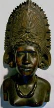 Tropical Hardwood Carving Bust of Woman w/ Headdress Polynesian?