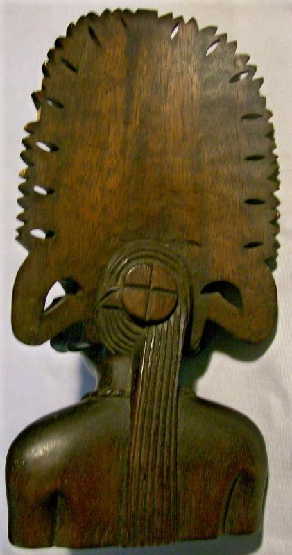 Tropical Hardwood Carving Bust of Woman w/ Headdress Polynesian?