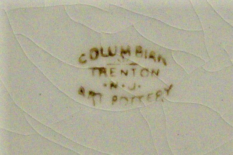 Columbian Art Pottery Ceramic Plate Trenton NJ Teal Transfer Ca. 1900