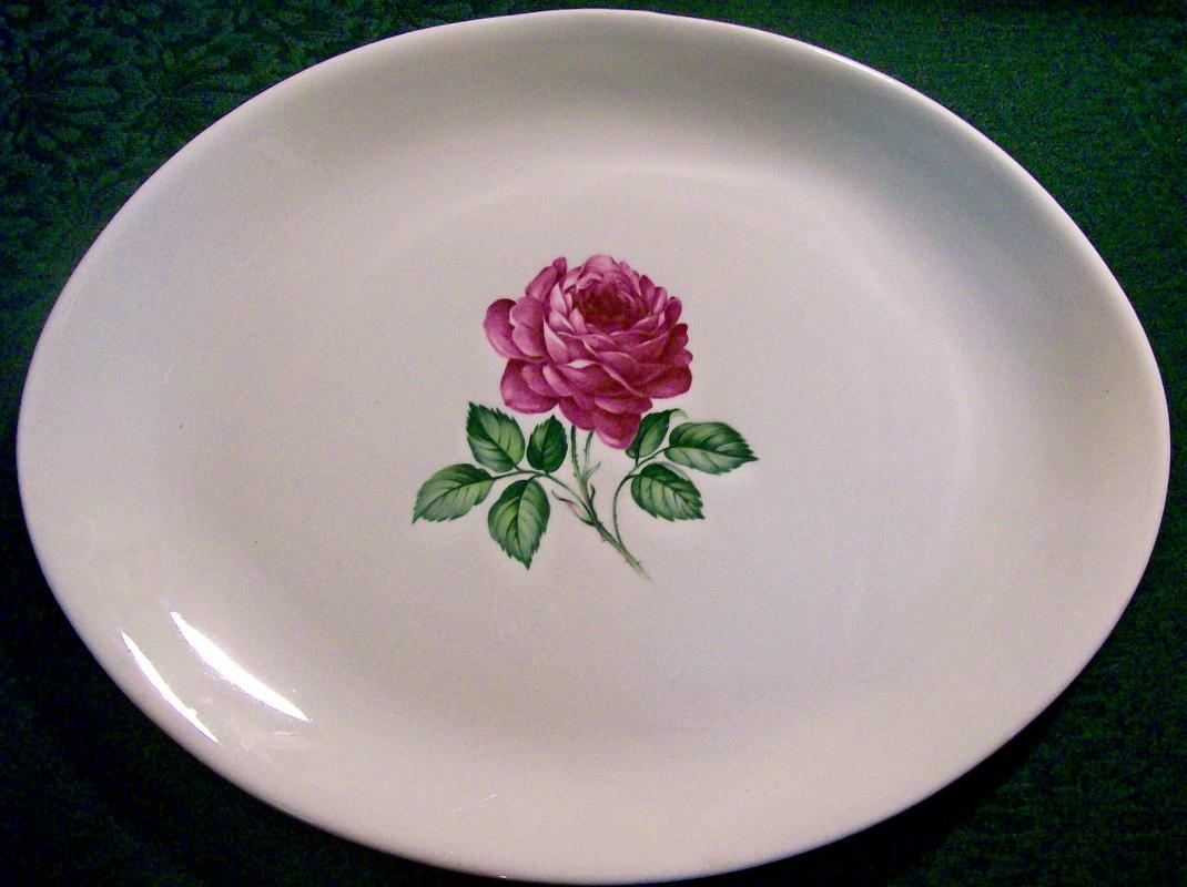 Red Rose Center Ceramic Platter USA 13