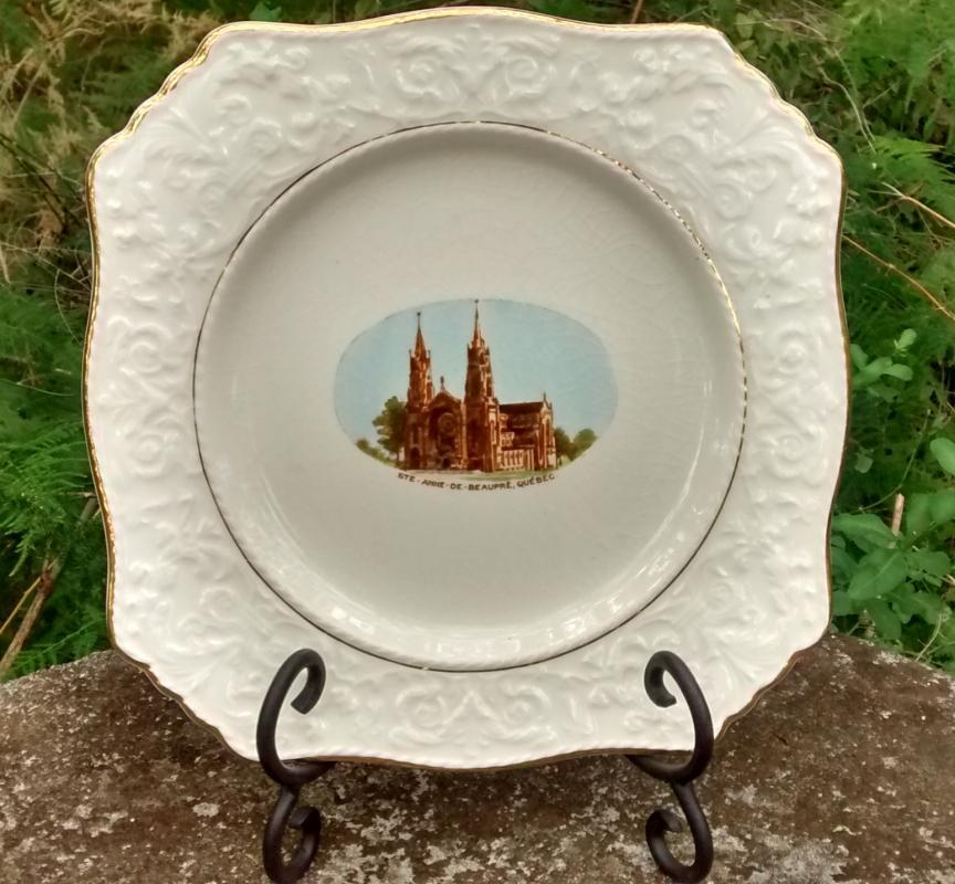 St. Anne De Beaupre Church Souvenir Plate Quebec Royal Winton 1930s