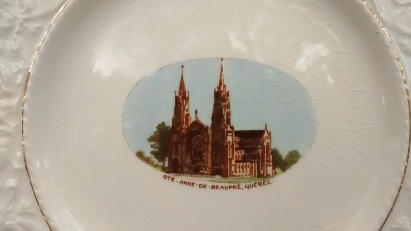 St. Anne De Beaupre Church Souvenir Plate Quebec Royal Winton 1930s