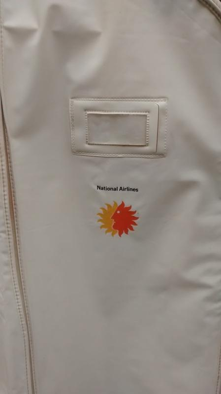 National Airlines Vinyl Garment Bag Sun King Logo 1960s-70s Attendant/Stewardess