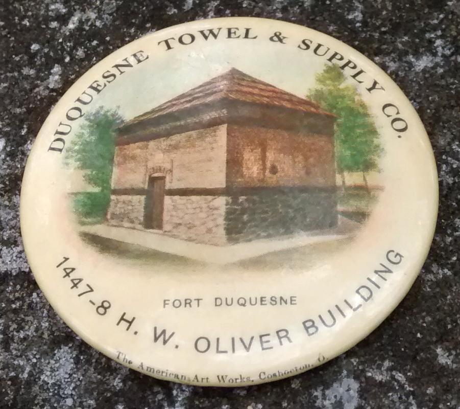 Duquesne Towel & Supply Advertising Celluloid Paperweight Pretty Lady Ca. 1905
