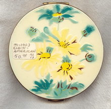 Elgin American Enameled Brass Compact 1950's Yellow Flowers