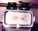 Cambridge Glass/Farberware Krome Kraft Cream & Sugar Set with Tray Emerald Green