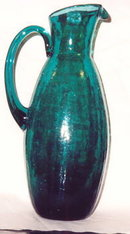 Crackle Glass Pitcher in Teal Green