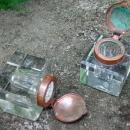 Art Nouveau Ink Well Pair Bronze Petal Lids Crystal Bases 1870s