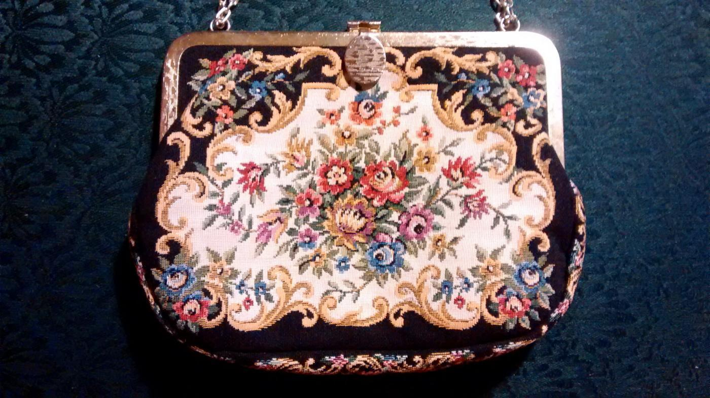 Floral Tapestry Purse with Chain Black/MC 1950s Hong Kong