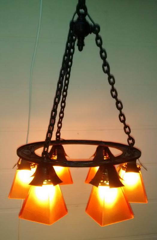 Antique Arts & Crafts Iron Chain Chandelier Early 1900s Rewired 48