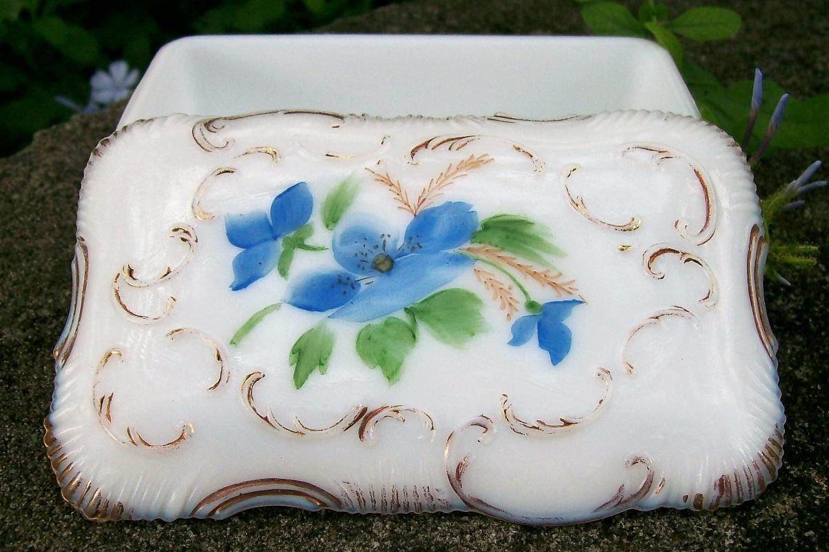 Opal /Milk Glass Covered Box w/Hand-painted Blue Flowers
