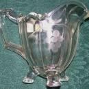 Indiana #125 Creamer w/ Engraved Grapes Clear Glass Early 1900s