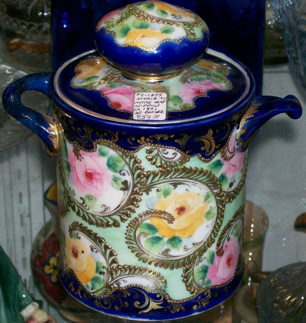 Nippon Era Ceramic Humidor Cobalt Blue Moriage Gold with Roses