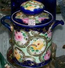 Nippon Humidor Cobalt Blue Moriage Gold with Roses