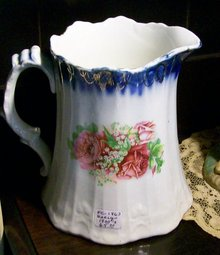 Rose Pitcher with Cobalt & Gold Trim