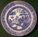 Till English Staffordshire Stoneware Blue Willow Plate 1850-60 9.5