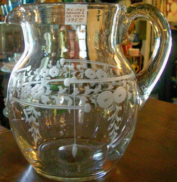 Hawke's Crystal Engraved Pitcher