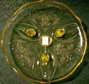 Lancaster Glass Landrum Footed Cake Plate Topaz Yellow 10.25