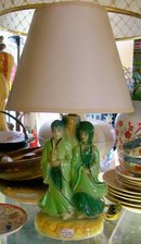 Shawnee Lamp: Oriental Couple: Original Shade